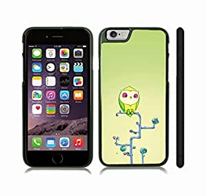 iStar Cases? iPhone 6 Case with Animated Lime Green Owl on Funny Shaped Blue Tree on Pale Green Gradient , Snap-on Cover, Hard Carrying Case (Black)