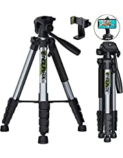 """Endurax 66"""" Video Camera Tripod for Canon Nikon Lightweight Aluminum Travel DSLR Camera Stand with Universal Phone Holder Mount and Carry Bag"""