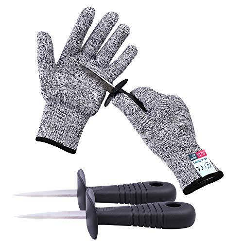 - Oyster Shucking Knife -High Performance Level 5 Protection Food Grade Cut Resistant Gloves Stainless Steel Clam Shellfish Seafood Opener (1 pair gloves + 2 knives)(M)