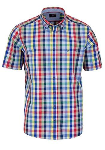 CASAMODA Comfort Fit Hemd Halbarm mit Besatz Multikaro blau