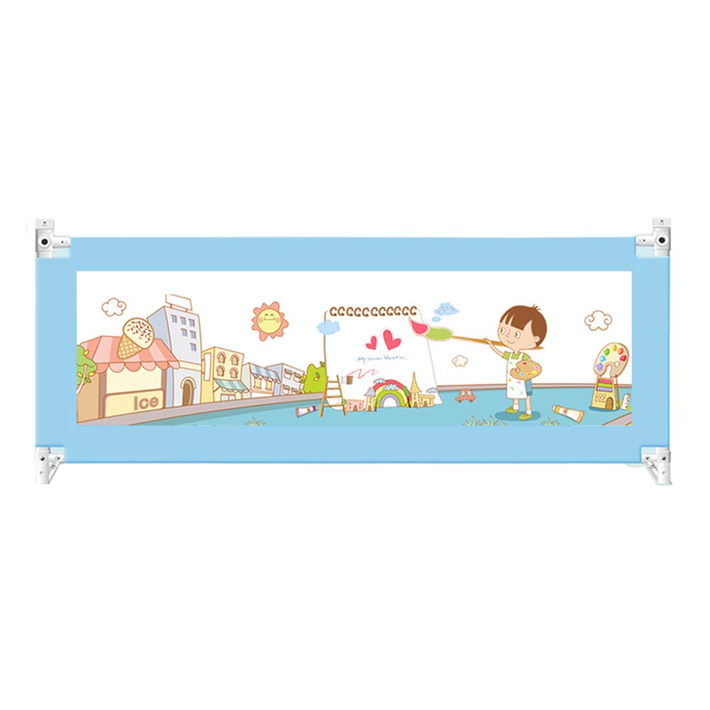 ベッドフェンス, 子ども用垂直リフトベッドレール、幼児用ポータブルベッドレールガード、安全ベビーベッド用ガードレール - 82cm超高 (色 : 青, サイズ さいず : 220cm) 220cm 青 B07K34N9FK