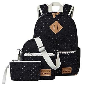 Escuela Mochila Canvas Backpack Casual Set Mochilas / Rucksack + Bolso del mensajero + Monedero (Encaje negro)