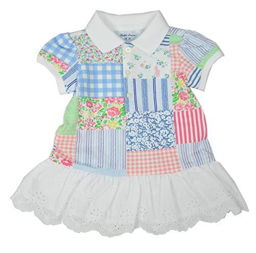 Polo Ralph Lauren Girls Two Piece Ruffled Hem Dress Set, White MU (3M) (Ralph Patterns China Lauren)