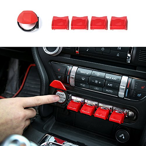 BORUIEN For Ford Mustang 2015-2016 ABS Red Engine Start/Stop Button & Dashboard Control Button Cover Decor Decal Frame ()