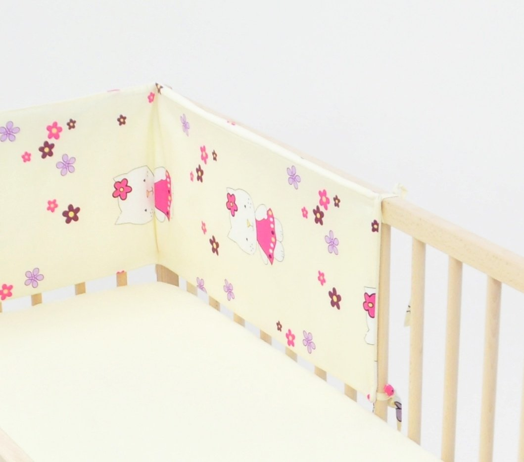 Cot bed BUMPER approx. 30x180cm, 3-sided, nursery bedding, baby, toddler (pattern: bears in heaven_blue) Velinda