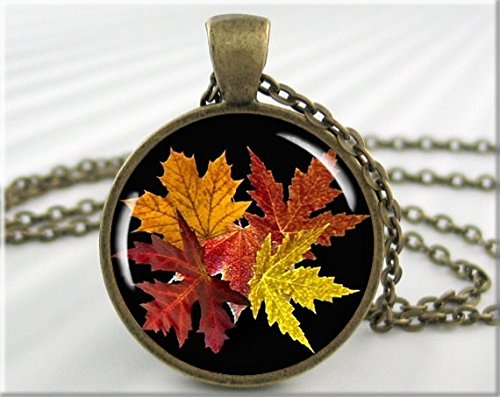 Fall Leaves Necklace, Fall Season Pendant, Resin Picture Charm, Autumn Jewelry, Round Bronze -