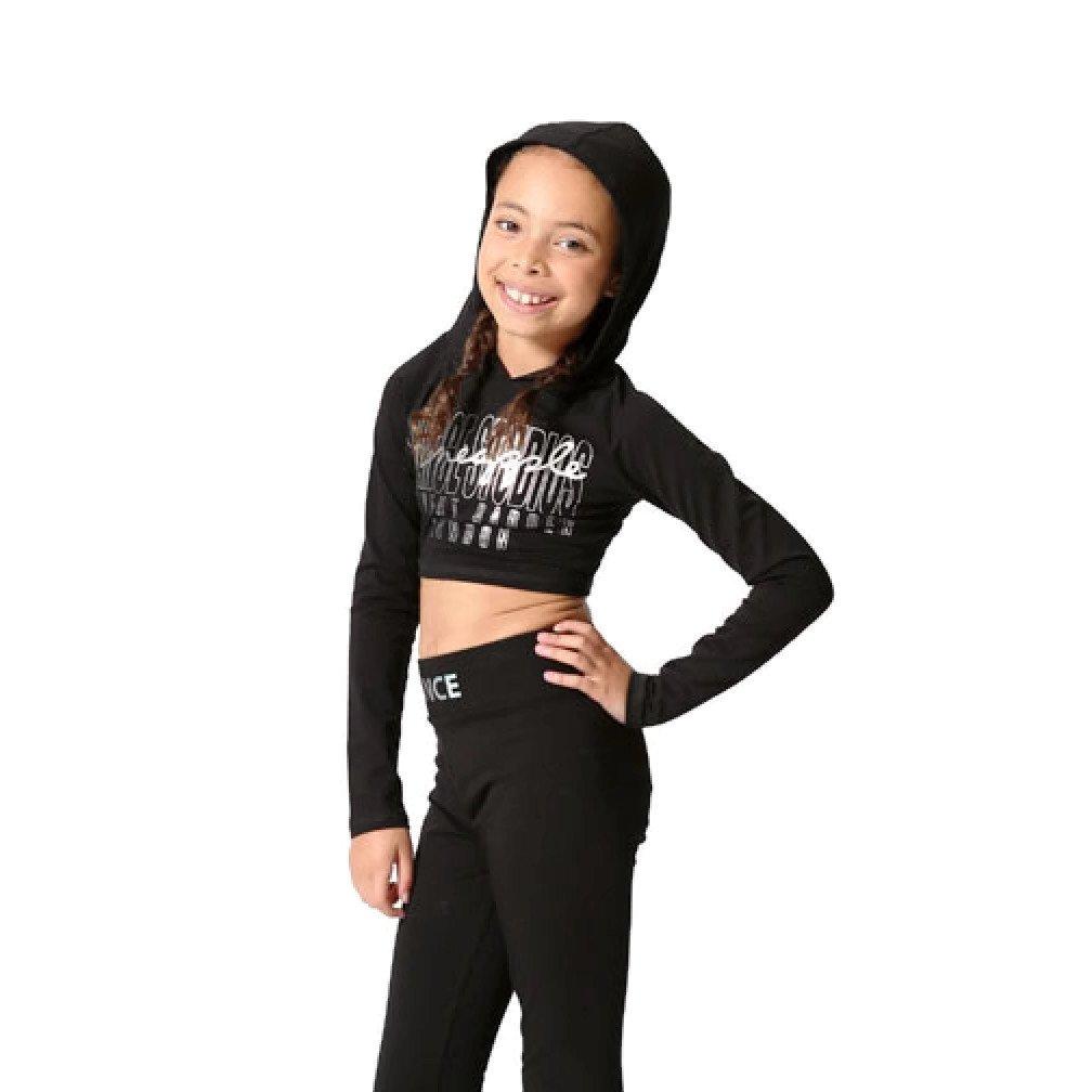 fc60aaa20 PINEAPPLE DANCEWEAR GIRLS Black Crop Dance Hoodie Top with Silver ...