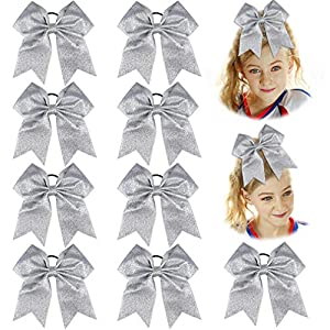 DEEKA 12PCS 8″ Large Cheer Hair Bows Ponytail Holder Elastic Band Handmade for Teen Girls Softball Cheerleader Sports