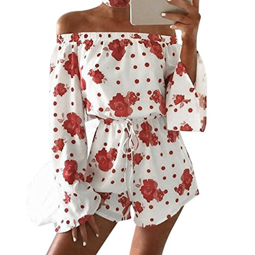 Halo Kettle (❤️Women Jumpsuit,Hot New Fashion 2018 Clearance Neartime Rompers Overalls Sexy Ladies Floral Prints Jumpsuit Clubwear Bodycon Playsuit Romper (L, Red))