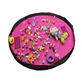 60inch Toy Storage Bag,150cm Portable Large Storage Bag, Children's Dolls Play Mat, Multi Purpose Kid's Activity Mat,Travel Picnic Mat Pouch, Organizer Storage Rug - Pink