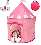 Toys : Kiddey Princess Castle Play Tent (Pink) – WITH FREE BONUS - With Glow in the Dark Stars – Indoor/Outdoor Playhouse for Girls, With Carry Case for Easy Travel and Storage. Great Gift Idea