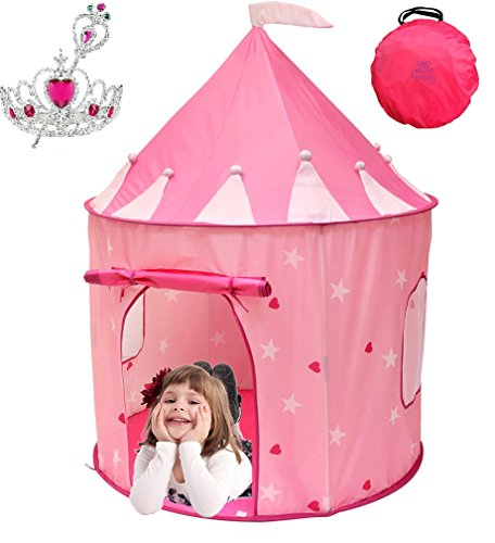 Kiddey Princess Castle Play Tent (Pink) – WITH FREE BONUS - With Glow in the Dark Stars – Indoor/Outdoor Playhouse for Girls, With Carry Case for Easy Travel and Storage. Great Gift Idea Christmas Gift Ideas 5 Year Old Girl