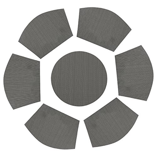 PAUWER Vinyl Wedge Shaped Placemat Set of 6 Plus Center Round Placemats for Kitchen Table Heat Insulation Stain-resistant Washable Placemats for Round Table (7, Grey)