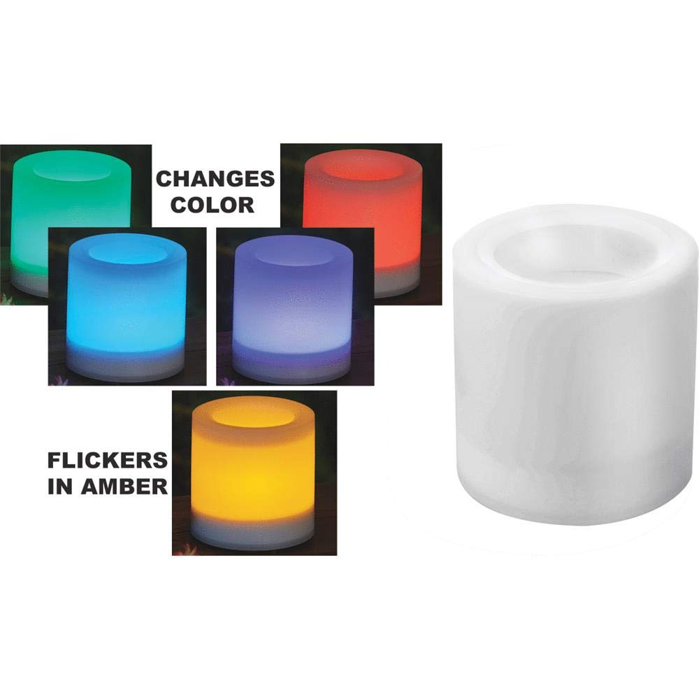 Sterno Home Paradise by Solar Color Changing Flameless Candle, 4-Inch by 4-inch,