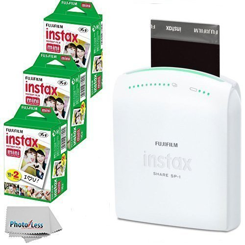 Fujifilm Instax Share SP-1 Smartphone Portable Printer With Fujifilm Instax Mini Instant Film, 60 Sheets, International Version (No Warranty) by PHOTO4LESS