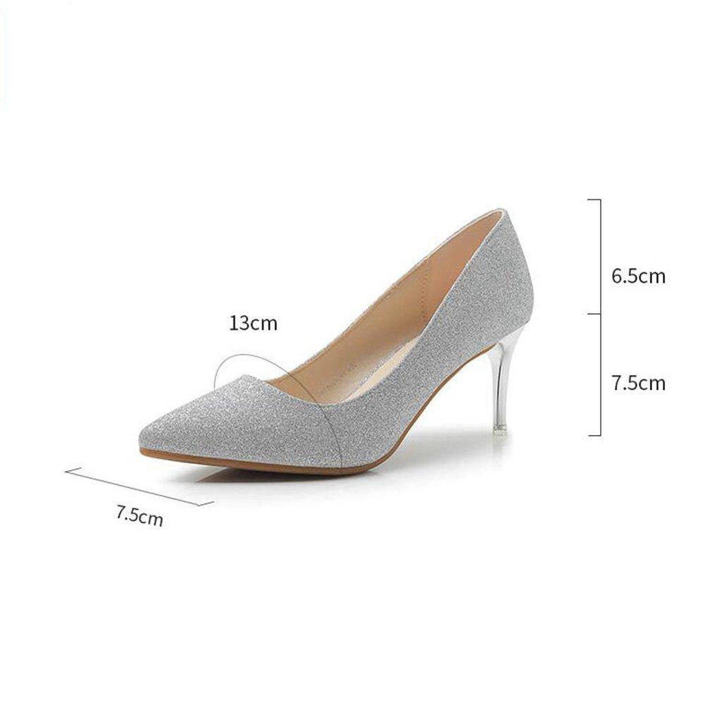 Jingsen Frühlings-Koreanische Frühlings-Koreanische Frühlings-Koreanische Frauen High Heels Feine Spitze Schuhe Kleid Schuhe (Farbe   Silber, Größe   36) e5468b
