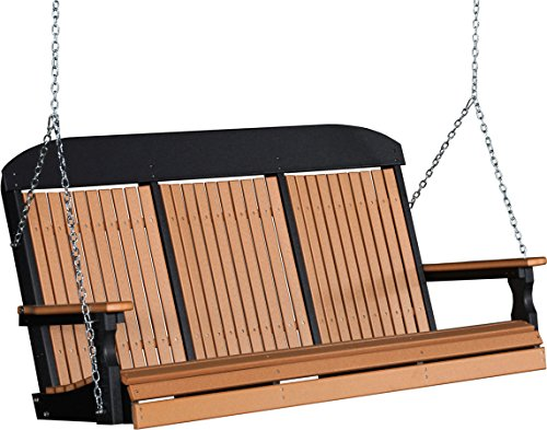 Poly 5 Foot Porch Swing – Classic Highback Design – Cedar and Black Color