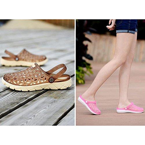 Unisexe Summer Chaussures Couple Jardin Pantoufles Demi Jelly Sandales Eastlion Marron Hole Mâle axqdFqS