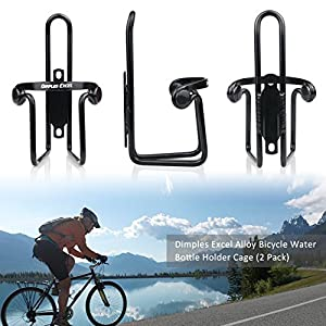 Water Bottle Cages, Dimples Excel Bike Bicycle Lightweight Water Bottle Holder Cages Brackets (2 PACK ( Black + Black ))