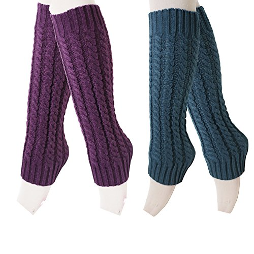 2 Pairs Womens Winter Warm Cable Knit Leg Warmers Knitted Crochet Long Knee ()