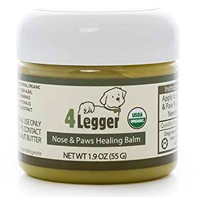 4-Legger Certified Organic Nose and Paw Pad Healing Balm for Dry Chapped Cracked Skin with Hemp Oil and Shea Butter - Made in USA - 1 each - 1.9 oz