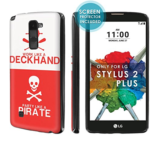 [Nakedshield] Slim Flexi Case For [LG Stylo 2 Plus] [MS550 K530] [Black] Total Armor Rubber Gel Phone Case [Screen Protector]- [Pirate Deckhand] Print ()