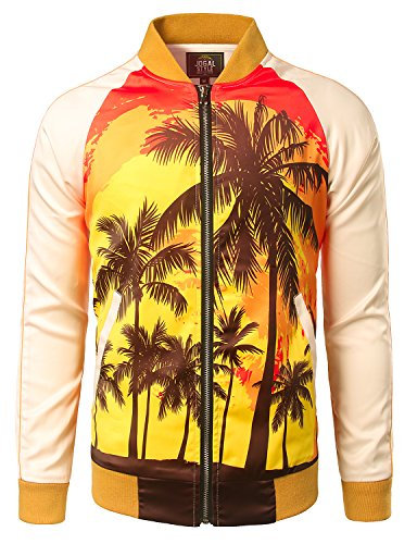 JOGAL Mens Zipper Bomber Jacket Lettermen Style Sunset Coconut Tree Couples Top Medium by JOGAL