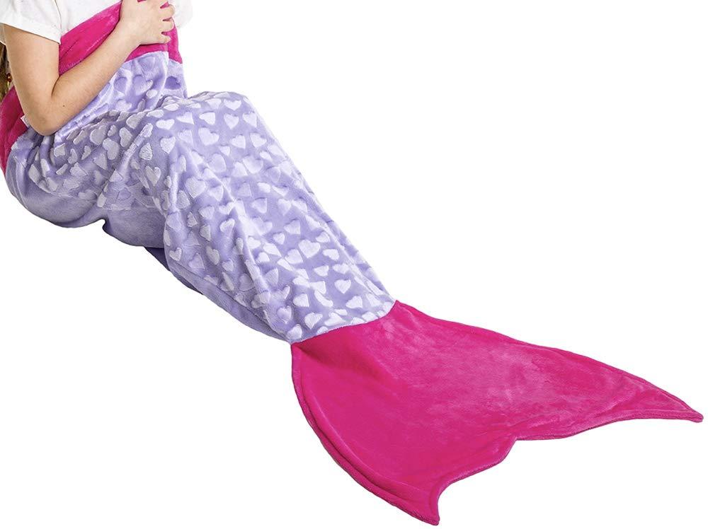 Loved Blanket Heart Mermaid Tail Blanket for Girls Kids Ages 3-12 - Great Gift (Light Purple/Hot Pink)