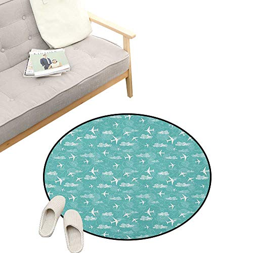 Airplane Round Rug Living RoomArt Deco ,Disoriented Flying Jets in Clear Sky with Curly Clouds Travel Vacation Theme, Playroom Super Soft Carpet Floor Mat 39