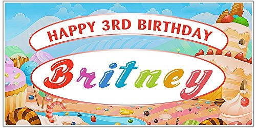 Candyland Candy Sweets Custom Birthday Party Banner Backdrop Decoration