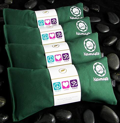 Happy Wraps Namaste Lavender Yoga Eye Pillows for Yoga Pilates Savasana Meditation - Set of 4 - Green Cotton