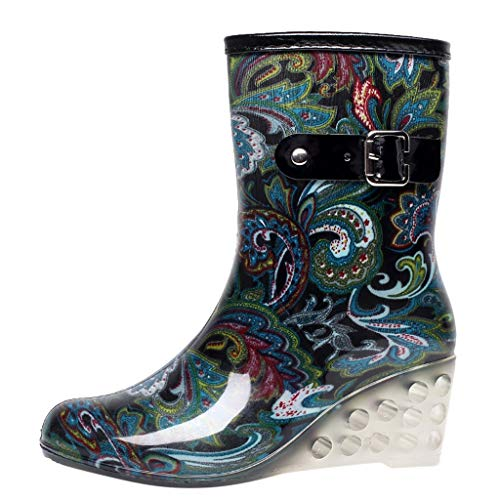 CapsA Women's Waterproof Rain Punk Style Mid Snow Boots Non-Slip Rain Boots Outdoor Wedge Water Shoes Fashion Rubber Multiple Styles (CN:40, Blue)