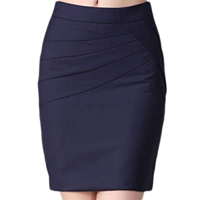 Soojun Women's Slim Fit Ruffle High Waiste OL Business Pencil Short Skirt
