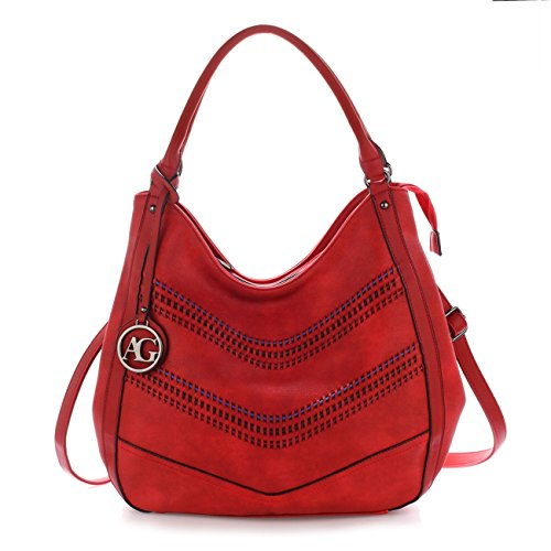 Height Bags 36cm Red Fashion Soft Zipper Shoulder Width Leahward Leather Faux Women's Medium 38cm Handbags 6pWzwqZgv