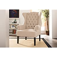 Wholesale Interiors Baxton Studio Knuckey French Country Beige Linen Nail Head Wing Back Armchair, Large