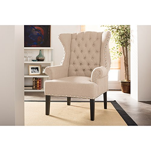 Baxton Studio Wholesale Interiors Knuckey French Country Beige Linen Nail Head Wing Back Armchair