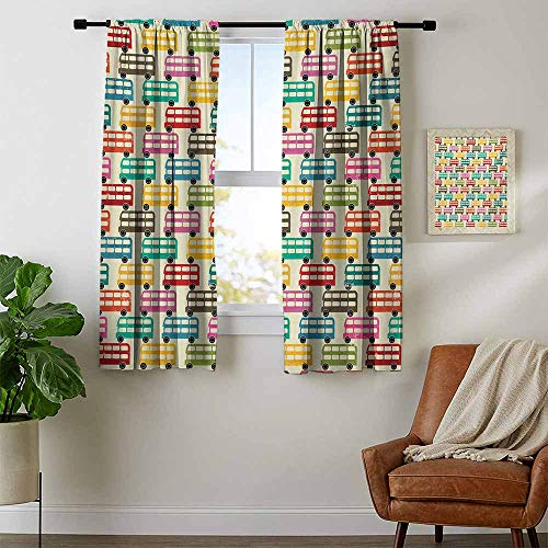 DESPKON-HOME Curtains/Panels/Drapes, Colorful Londons Famous Double Decker Bus Silhouettes Pattern with Worn Out Background Household Darkening Curtains, Multicolor W72 x L63