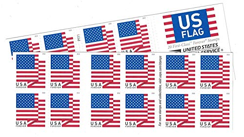 USPS US Flag Forever Stamps - 40 Stamps (Two Books of 20) Packaging May Vary, Blue/Red/White