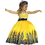 Graceprom Black Lace Yellow Ball Gown Girls Pageant Dresses