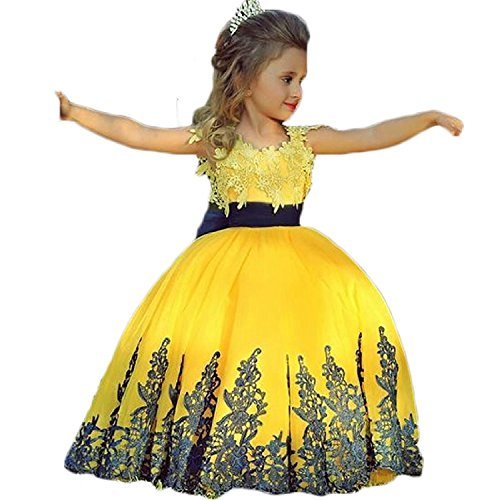 Graceprom Black Lace Yellow Ball Gown Girls Pageant Dresses by Graceprom