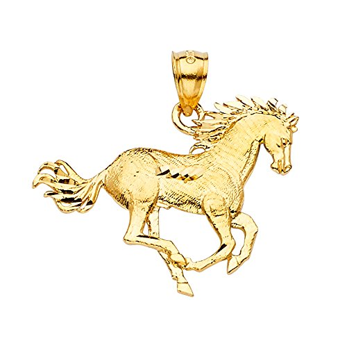 Ioka - 14K Yellow Gold Horse Charm Pendant For Necklace or Chain ()