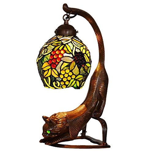 Tiffany Style Desk Lamp, 7 Inch Grape Design Glass Table Lamp, Bedroom Bedside Resin Owl Art Table (Grape Design Table Lamp)