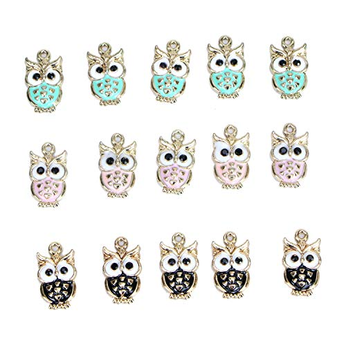 Monrocco 30 Pack Mixed Color Alloy Metal Enamel Owl Charm Pendant for Bracelets Jewelry Making - Green Enamel Alloy Metal