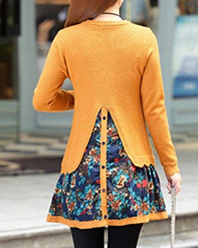 Casual De Vestido Mujeres Cuello Suéteres Amarillo Redondo Manga Slim Larga 06xwqSd