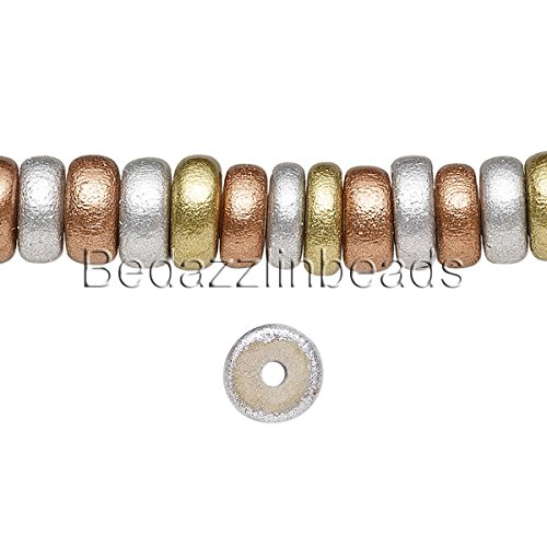 100 Colored 8mm Round x 4mm Thick Wooden Rondelle Wood Beads (Assorted Metallic) (Bead Metallic Wood)