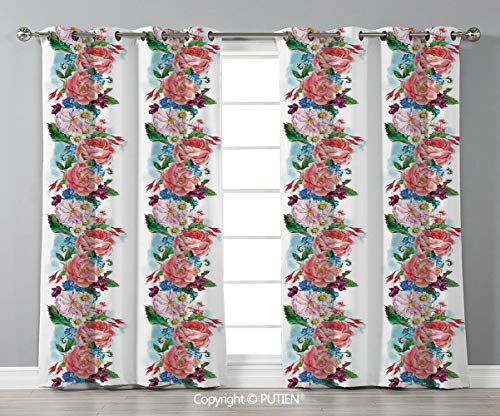 Grommet Blackout Window Curtains Drapes [ Flower,Picturesque Bouquet with Mix Daisy Wild Flower and Honeysuckles Vintage Illustration,Pink Blue ] for Living Room Bedroom Dorm Room Classroom Kitchen Ca