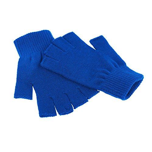Men / Women's Basic Solid Colored Warm Knit Fingerless Winter Gloves, (Blue Fingerless Gloves)