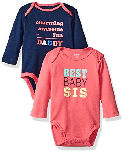 Carters 2 Pack Bodysuits - Carter's Girls' 2-Pack Long Sleeve Bodysuit, Family, 3 Months