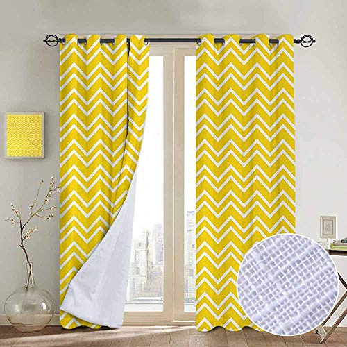 NUOMANAN Decorative Curtains for Living Room Yellow,Zig Zag Chevron Pattern in Yellow and White Colors Modern Inspired Art Print,Yellow and White,Blackout Draperies for Bedroom 84