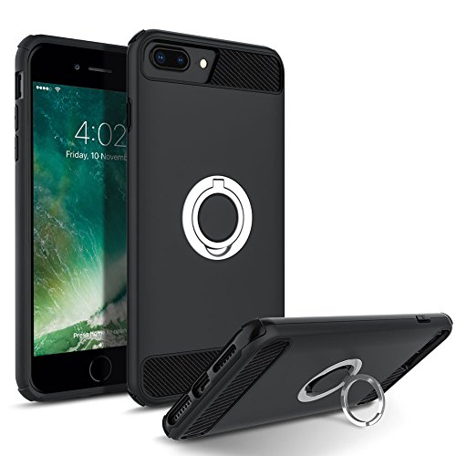 iPhone 7 Plus Case, iPhone 8 Plus Case, Cohesiongo 360 Degree Rotating Ring Kickstand Case Shockproof Impact Protection function Can work with Magnetic Car Mount Cover for iPhone 8/7 Plus (Black)